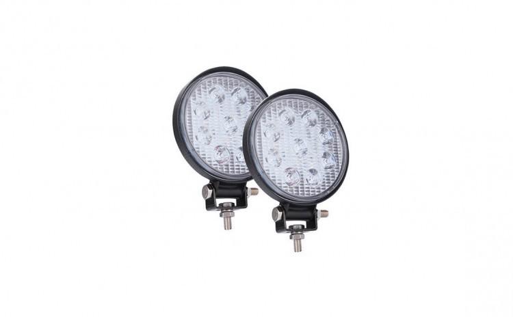 Set 2 x proiectoare LED auto, rotunde, 27W imagine techstar.ro 2021