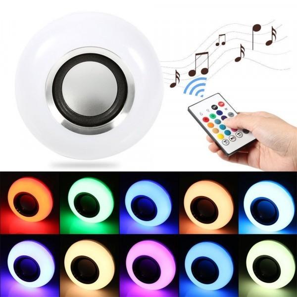 Bec muzical inteligent cu LED bluetooth telecomanda lumini colorate imagine techstar.ro 2021