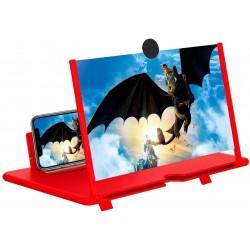 """Ecran Lupa de 12 """", 3D HD Amplificator de mărire pentru telefon mobil,Proiector pentru filme Video (rosu)"""