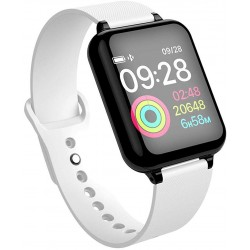 Ceas Smartwatch B57 Waterproof IP65, Fitness Tracker Unisex, Monitorizare Puls, Bluetooth, Alb