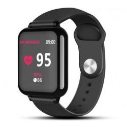 Ceas Smartwatch B57 Techstar®, Waterproof, Fitness Tracker Unisex, Monitorizare Puls, Bluetooth, Negru