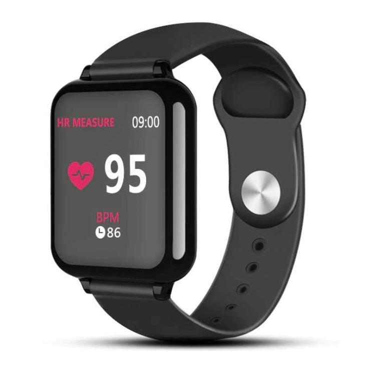 Ceas Smartwatch B57 Techstar®, Waterproof, Fitness Tracker Unisex, Monitorizare Puls, Bluetooth, Negru imagine techstar.ro 2021
