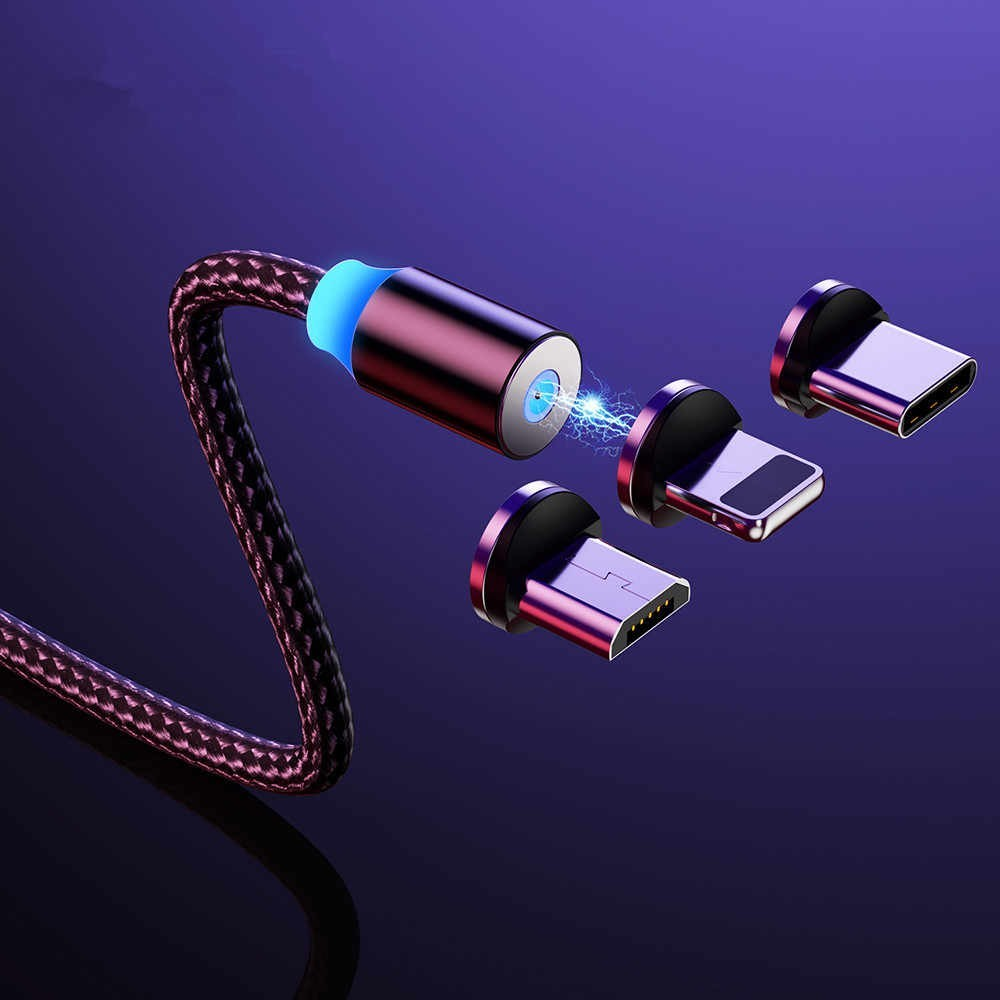 Cablu de incarcare Profesional, Magnetic 360, cu indicator LED 3 in 1 imagine techstar.ro 2021