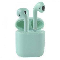 Casti Audio Wireless Techstar® i7S mini, Verde, Tip in-ear pentru IOS si Android, Bluetooth