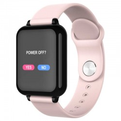 Ceas Smartwatch B57 Techstar®, Waterproof, Fitness Tracker Unisex, Monitorizare Puls, Bluetooth, Roz