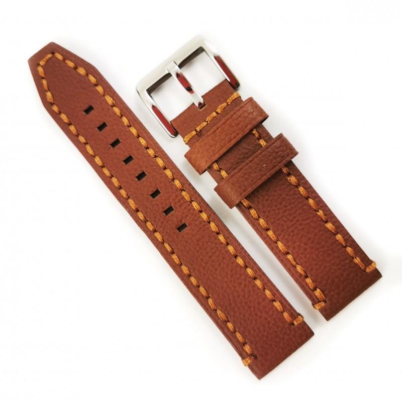 Curea de ceas maro cu textura bizonata - piele naturala - 20mm, 22mm, 24mm - WZ4181