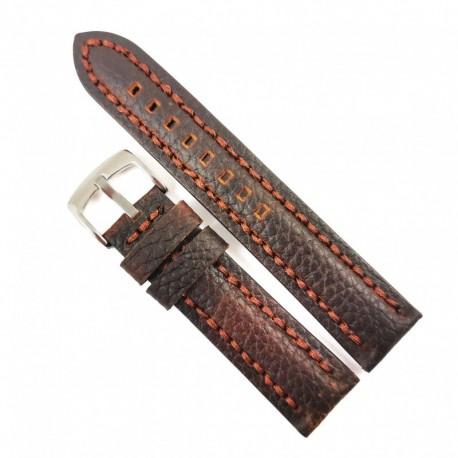 Curea de ceas maro-inchis cu textura bizonata din piele naturala 20mm, 22mm 24mm - WZ4179