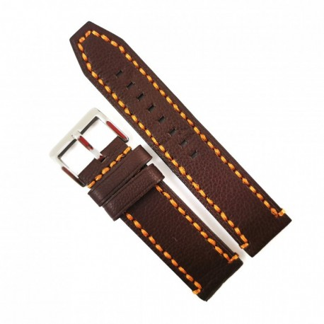 Curea de ceas robusta, maro-inchis din piele naturala 22mm, 24mm, 26mm - WZ4177