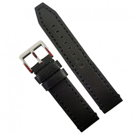 Curea de ceas neagra din piele naturala 20mm 22mm 24mm 26mm WZ4161