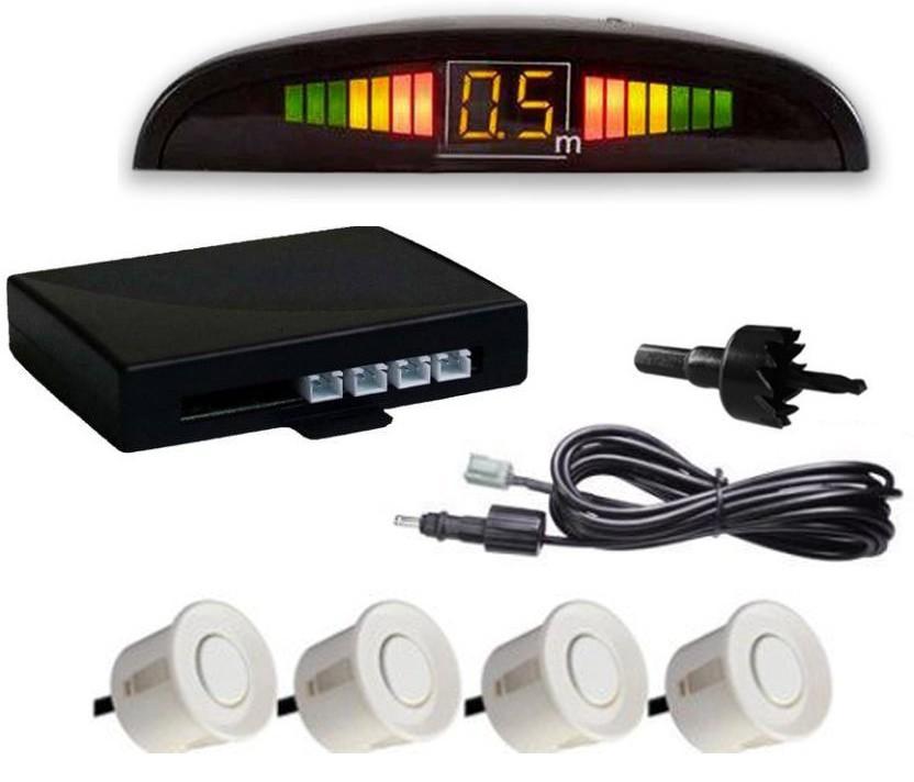 Set Senzori parcare auto detector parktronic display radar monitor 4 senzori ALB imagine techstar.ro 2021