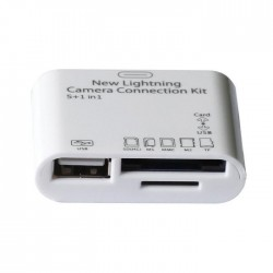 Mini Smart Card Reader 5 in 1, alb, Usb/TF/SD/Lightning + Conectare Tastatura USB
