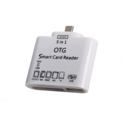 Mini Smart Card Reader OTG 5 in 1, alb, Usb/TF/SD/Micro Usb 2.0 + Conectare Tastatura USB