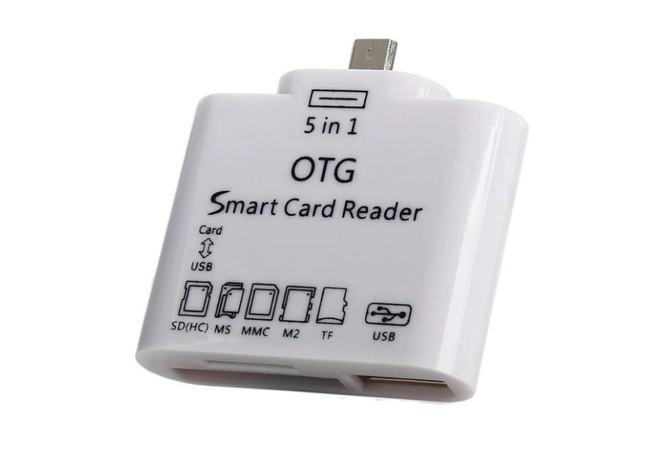 Mini Smart Card Reader OTG 5 in 1, alb, Usb/TF/SD/Micro Usb 2.0 + Conectare Tastatura USB imagine techstar.ro 2021