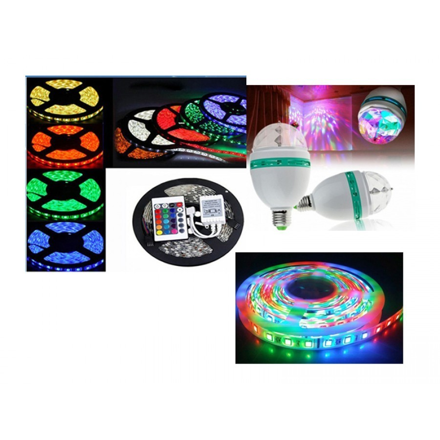 Banda LED, cu telecomanda + Bec rotativ disco imagine techstar.ro 2021