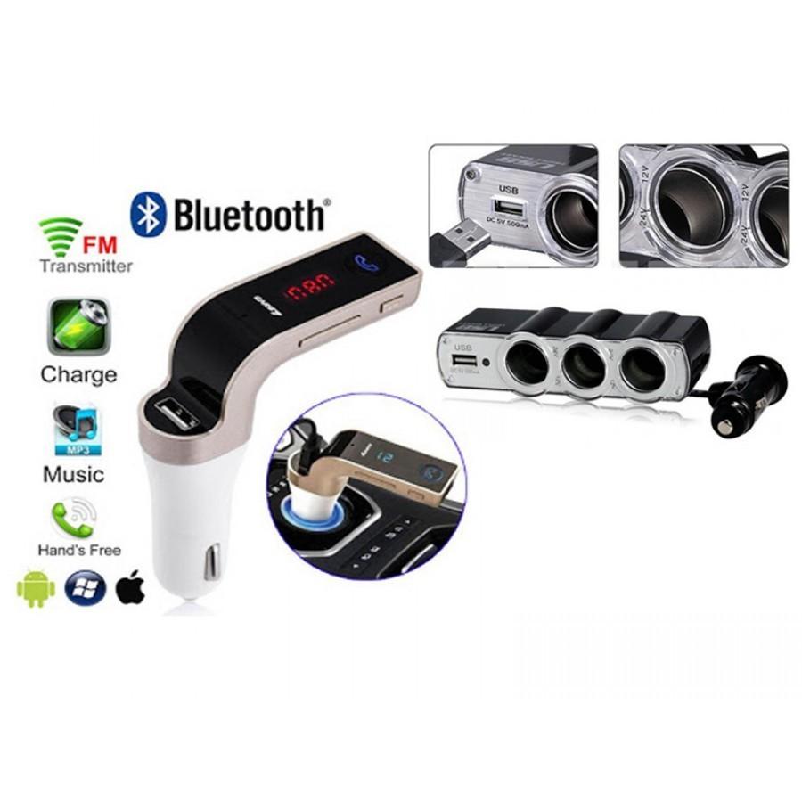 Modulator FM auto Bluetooth + Priza bricheta tripla USB imagine techstar.ro 2021