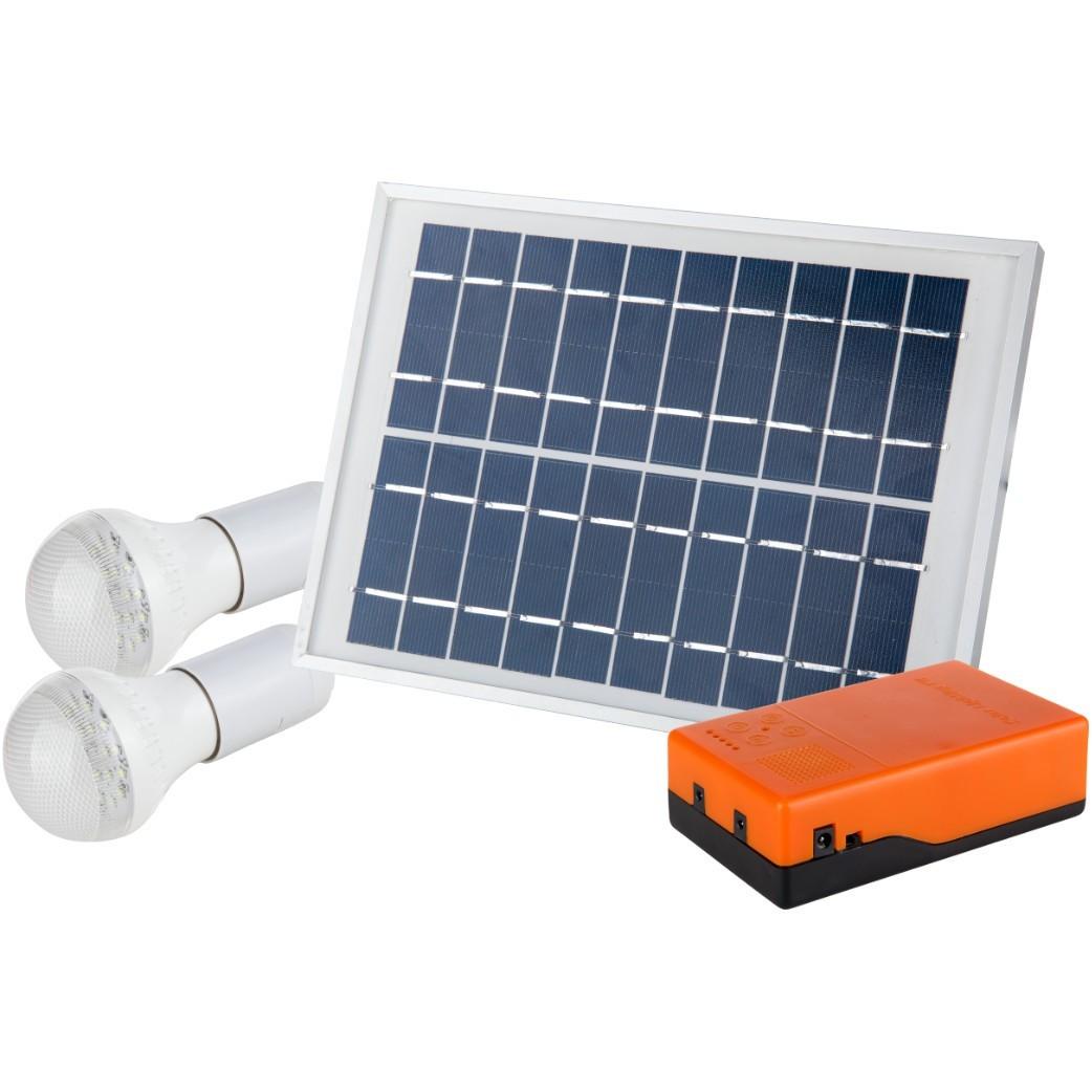 Kit Iluminare LED EvoTools, Panoul solar policristalin, 2 becuri LED de 1W/6V, putere 5 W imagine techstar.ro 2021