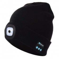 Caciula Bluetooth cu microfon si lanterna frontala, incarcare USB