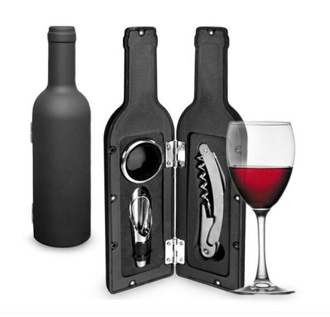 Accesorii pentru vin in forma de sticla, 3 piese poza 2021