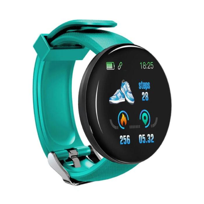 Bratara Fitness Smartband Techstar® D18 Waterproof IP65, Incarcare USB, Bluetooth 4.0, Display Touch Color OLED, Verde Aqua