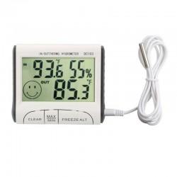 Termometru si Higrometru Digital pentru Interior/Exterior, Senzor exterior 1m, Suport de asa si perete magnet