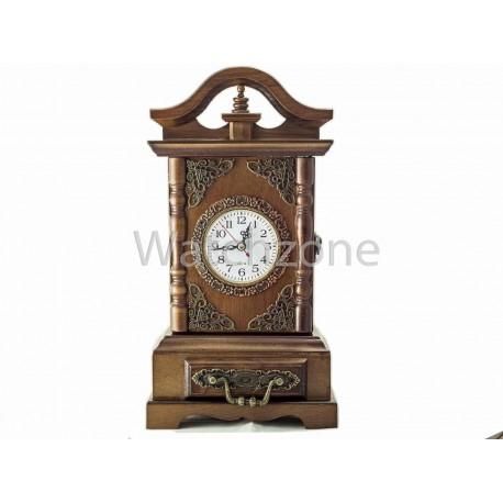 Ceas De Masa din Lemn Vintage Cu Usa Secreta