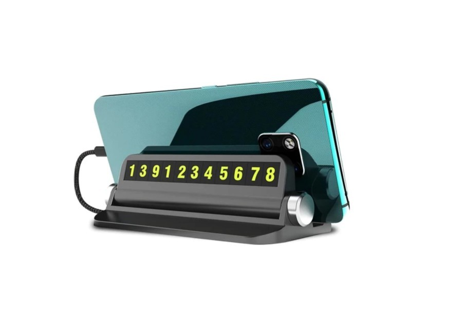 Suport Afisaj Numar Telefon, pentru Parcare Temporara cu Suport Telefon, Negru + CADOU imagine techstar.ro 2021
