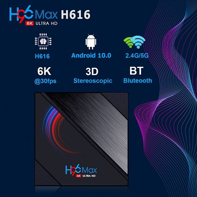 Media player TV Box H96 Max H616 Android 10, 4GB RAM, 32GB ROM Mini PC 6K Netflix HBO imagine techstar.ro 2021