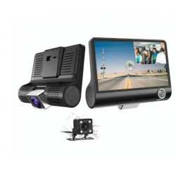 "Camera Video Auto Tripla, Full-HD, 3 Camere - Fata/Spate/Interior, Display 4"", G Senzor, 170 Grade"