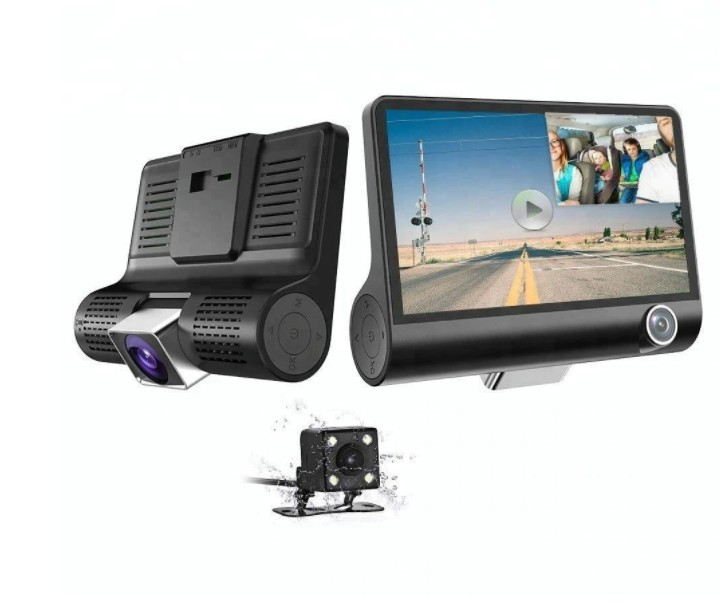 "Camera Video Auto Tripla Blackbox, Full-HD, 3 Camere - Fata/Spate/Interior, Display 4"""", G Senzor, 170 Grade imagine techstar.ro 2021"