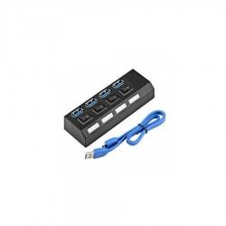 HUB USB 2.0 cu 4 porturi & switchuri super fast - Negru