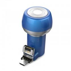 Aparat de Ras Techstar® VSH101, Lama Dubla, Portabil, USB, Albastru