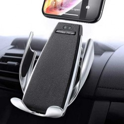 Suport Auto cu Incarcare Wireless -Smart Sensor Car Wireless Charger S5, Argintiu