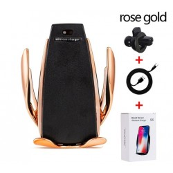 Suport Auto cu Incarcare Wireless -Smart Sensor Car Wireless Charger S5, Rose Gold