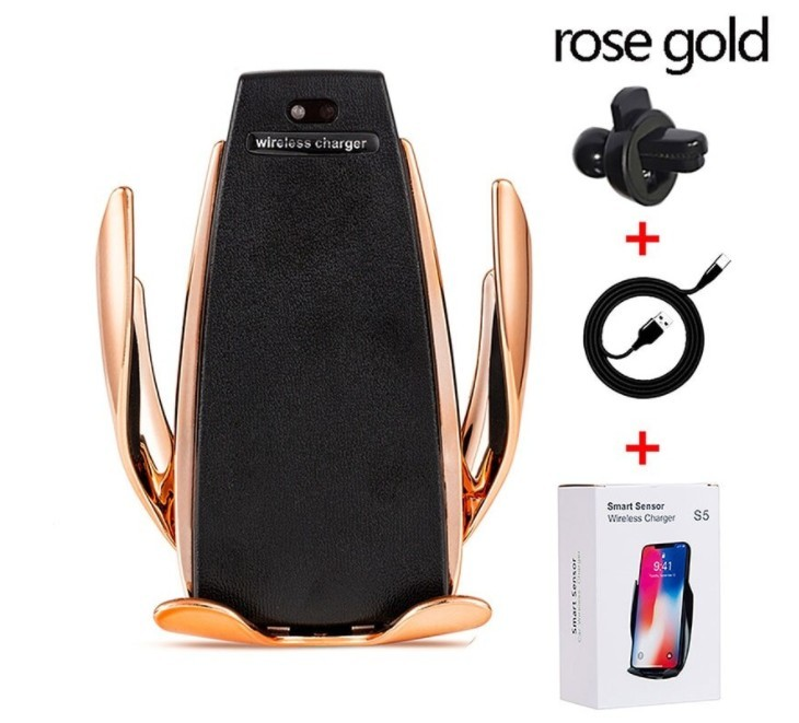 Suport Auto cu Incarcare Wireless -Smart Sensor Car Wireless Charger S5, Rose Gold imagine techstar.ro 2021