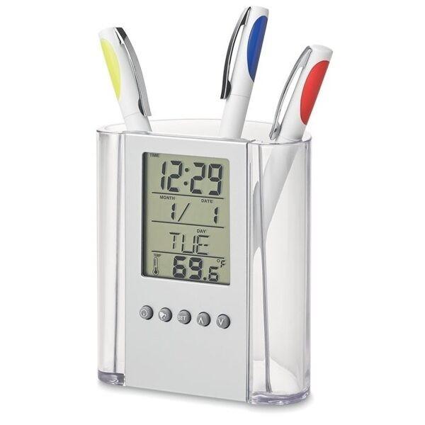Suport de birou pentru pixuri cu afisaj LCD cu ceas, calendar si termometru+cadou poza 2021