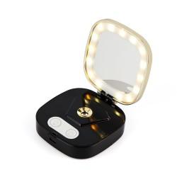 Umidificator in forma de Pudriera, Techstar® VNM103, Vanity Mirror, Oglina Luminata, Acumulator, Design Elegant, Negru