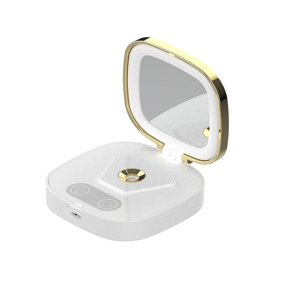 Umidificator in forma de Pudriera, Techstar® VNM103, Vanity Mirror, Oglina Luminata, Acumulator, Design Elegant, Alb