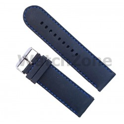 Curea ceas silicon negru si cusatura albastra 26mm