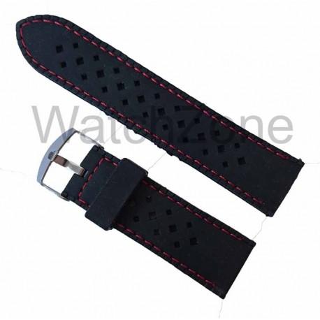 Curea ceas silicon negru cusatura rosie 24mm