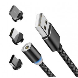 Cablu de Incarcare si Date Magnetic 3 in 1, Type C, Micro USB, Lighting, X-CABLE, 1 metru, Negru