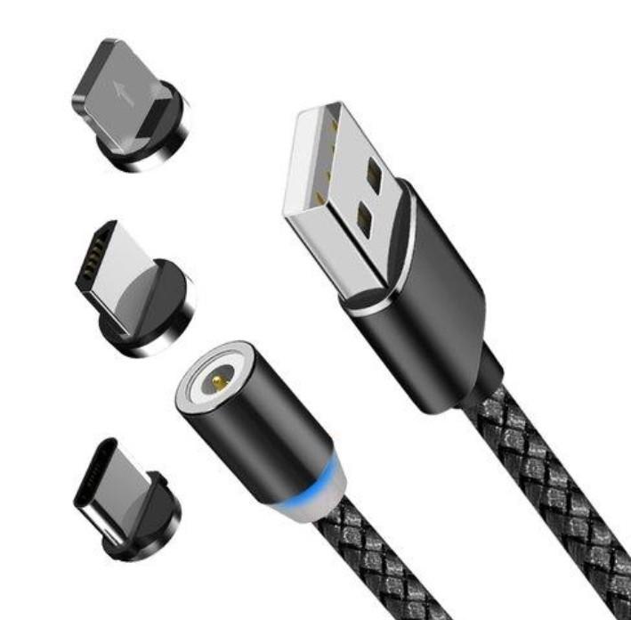 Cablu de incarcare si date 3 in 1 universal magnetic, X-CABLE, 1 metru, Negru