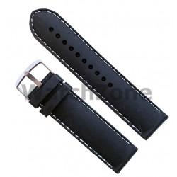 Curea silicon 22mm neagra si cusatura alba