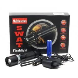 Lanterna LED 3W, Dur Aluminiu, Reincarcabila cu Acumulator + Incarcare AUTO