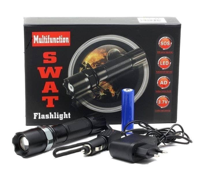 Lanterna LED SWAT, 3W, Dur Aluminiu, Reincarcabila cu Acumulator + Incarcare AUTO poza 2021