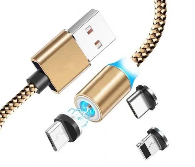 Cablu de incarcare si date 3 in 1 universal magnetic, X-CABLE , 1 metru, auriu imagine techstar.ro 2021
