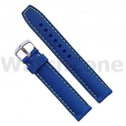 Curea silicon albastra 18mm cusatura galbena
