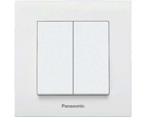 Intrerupator dublu Panasonic Karre Plus, alb, incl. rama calitate premium poza 2021