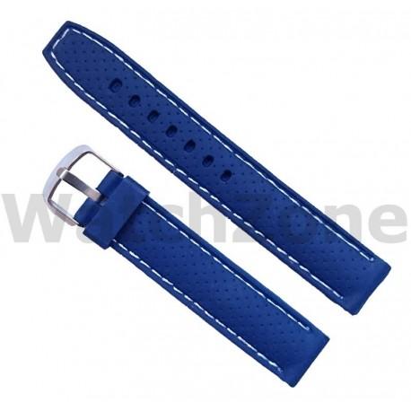 Curea silicon albastra 18mm cusatura alba
