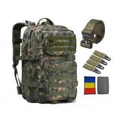 Echipament militar, rucsac 45L, curea cupla aliaj rapida, 4 carabine, steag tricolor, camuflaj