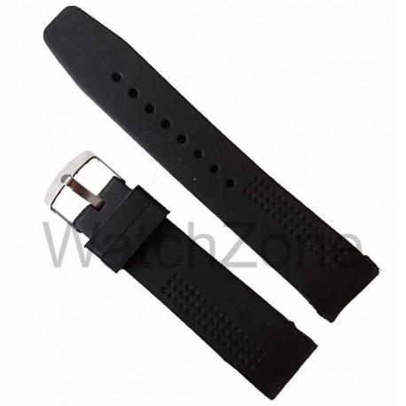 Curea ceas neagra silicon 22mm capete curbate